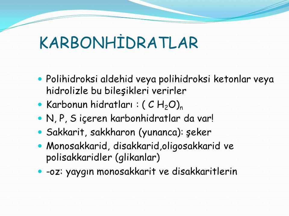 KARBONHİDRATLAR Polihidroksi aldehid veya polihidroksi ketonlar veya hidrolizle bu bileşikleri verirler Karbonun hidratları : ( C H 2 O) n N, P, S içe