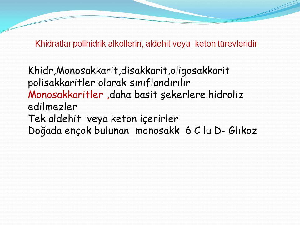 Khidratlar polihidrik alkollerin, aldehit veya keton türevleridir Khidr,Monosakkarit,disakkarit,oligosakkarit polisakkaritler olarak sınıflandırılır M