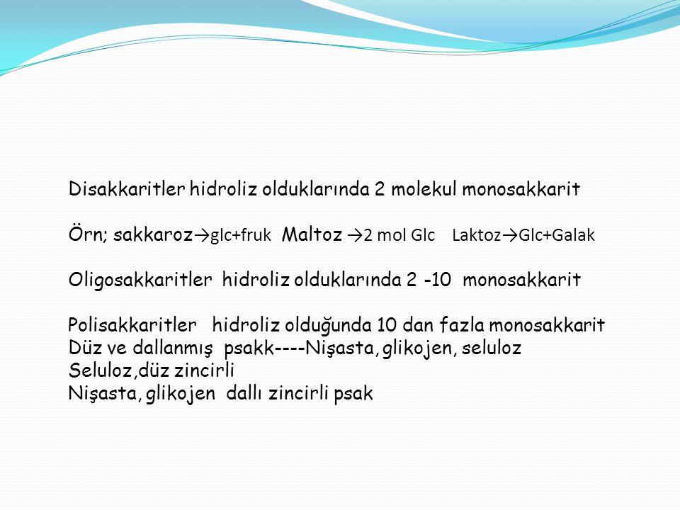 Disakkaritler hidroliz olduklarında 2 molekul monosakkarit Örn; sakkaroz →glc+fruk Maltoz →2 mol Glc Laktoz→Glc+Galak Oligosakkaritler hidroliz oldukl