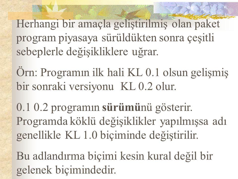 Herhangi bir amaçla geliştirilmiş olan paket program piyasaya sürüldükten sonra çeşitli sebeplerle değişikliklere uğrar. Örn: Programın ilk hali KL 0.