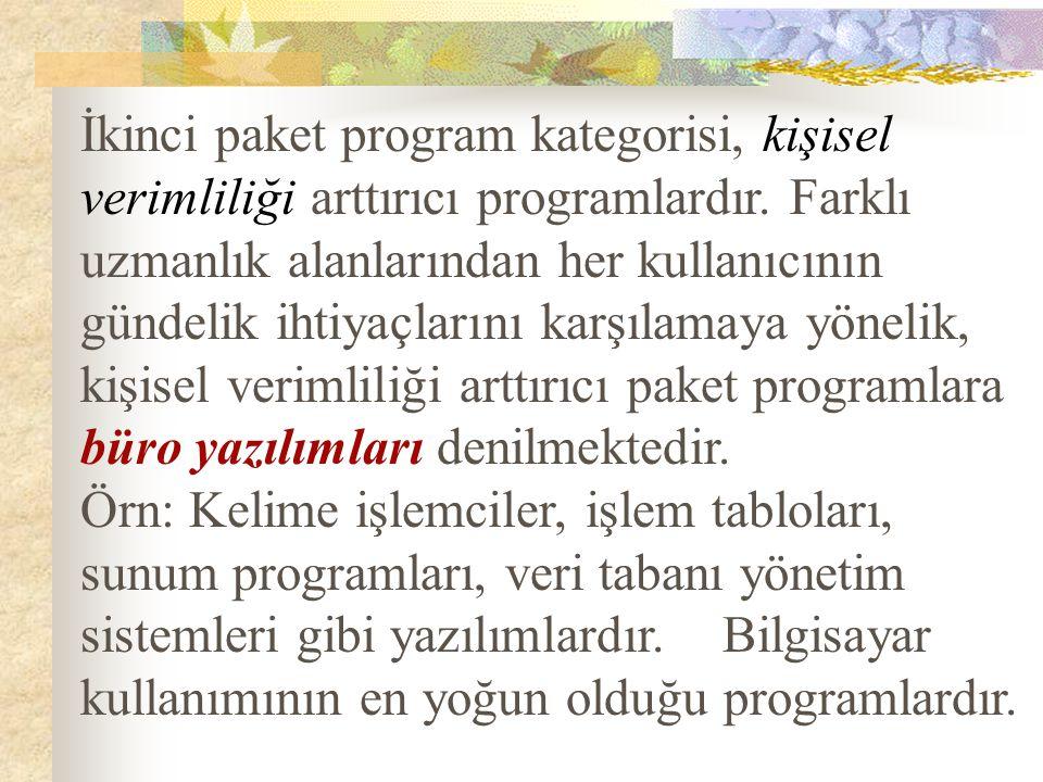 İkinci paket program kategorisi, kişisel verimliliği arttırıcı programlardır. Farklı uzmanlık alanlarından her kullanıcının gündelik ihtiyaçlarını kar