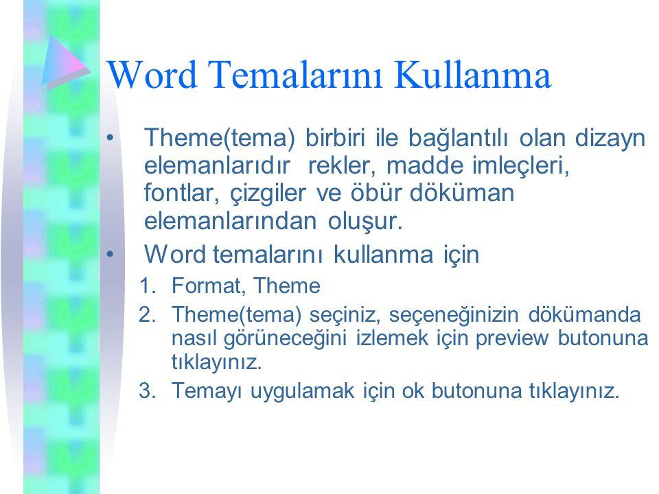Word Temalarını Kullanma Theme(tema) birbiri ile bağlantılı olan dizayn elemanlarıdır rekler, madde imleçleri, fontlar, çizgiler ve öbür döküman elemanlarından oluşur.