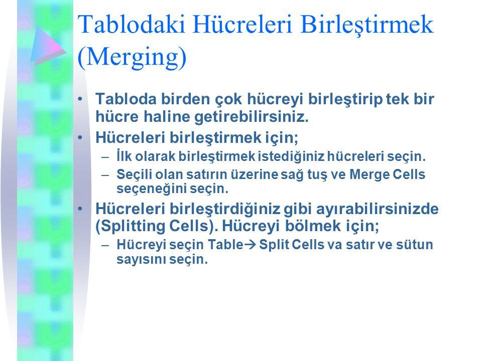 Tablodaki Hücreleri Birleştirmek (Merging) Tabloda birden çok hücreyi birleştirip tek bir hücre haline getirebilirsiniz.