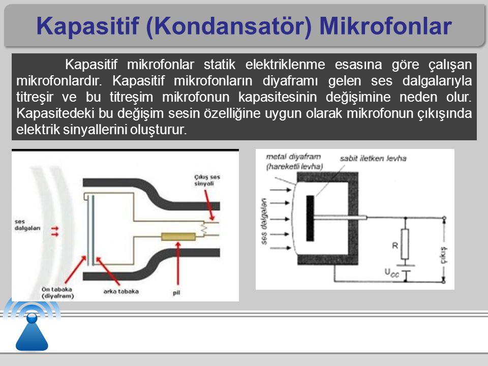 Kapasitif (Kondansatör) Mikrofonlar Kapasitif mikrofonlar statik elektriklenme esasına göre çalışan mikrofonlardır.