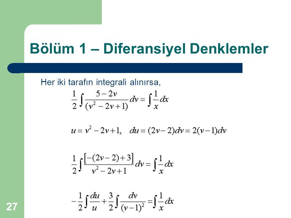 27 Bölüm 1 – Diferansiyel Denklemler Her iki tarafın integrali alınırsa,