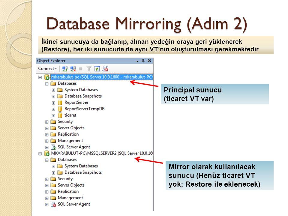 Database Mirroring (Adım 2) Principal sunucu (ticaret VT var) İkinci sunucuya da bağlanıp, alınan yedeğin oraya geri yüklenerek (Restore), her iki sunucuda da aynı VT'nin oluşturulması gerekmektedir Mirror olarak kullanılacak sunucu (Henüz ticaret VT yok; Restore ile eklenecek)