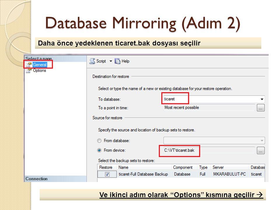 Database Mirroring (Adım 2) Daha önce yedeklenen ticaret.bak dosyası seçilir Ve ikinci adım olarak Options kısmına geçilir 