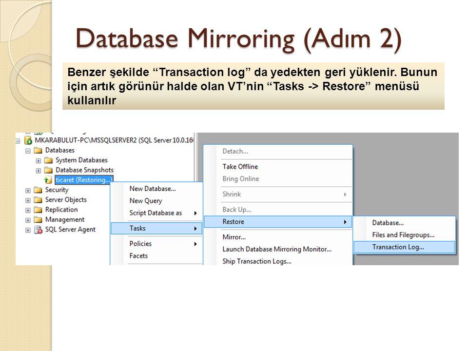 Database Mirroring (Adım 2) Benzer şekilde Transaction log da yedekten geri yüklenir.