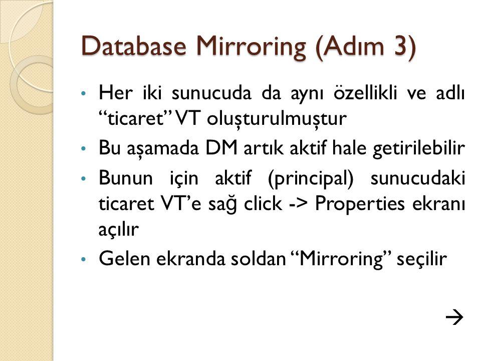 Database Mirroring (Adım 3) Her iki sunucuda da aynı özellikli ve adlı ticaret VT oluşturulmuştur Bu aşamada DM artık aktif hale getirilebilir Bunun için aktif (principal) sunucudaki ticaret VT'e sa ğ click -> Properties ekranı açılır Gelen ekranda soldan Mirroring seçilir 