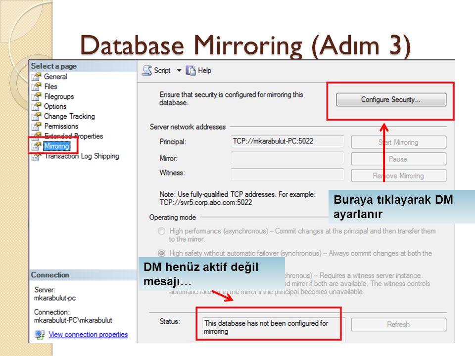Database Mirroring (Adım 3) Buraya tıklayarak DM ayarlanır DM henüz aktif değil mesajı…