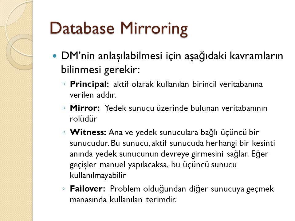 Database Mirroring (Adım 2) İkinci sunucuya da bağlanıp, alınan yedeğin oraya geri yüklenerek (Restore), her iki sunucuda da aynı VT'nin oluşturulması gerekmektedir