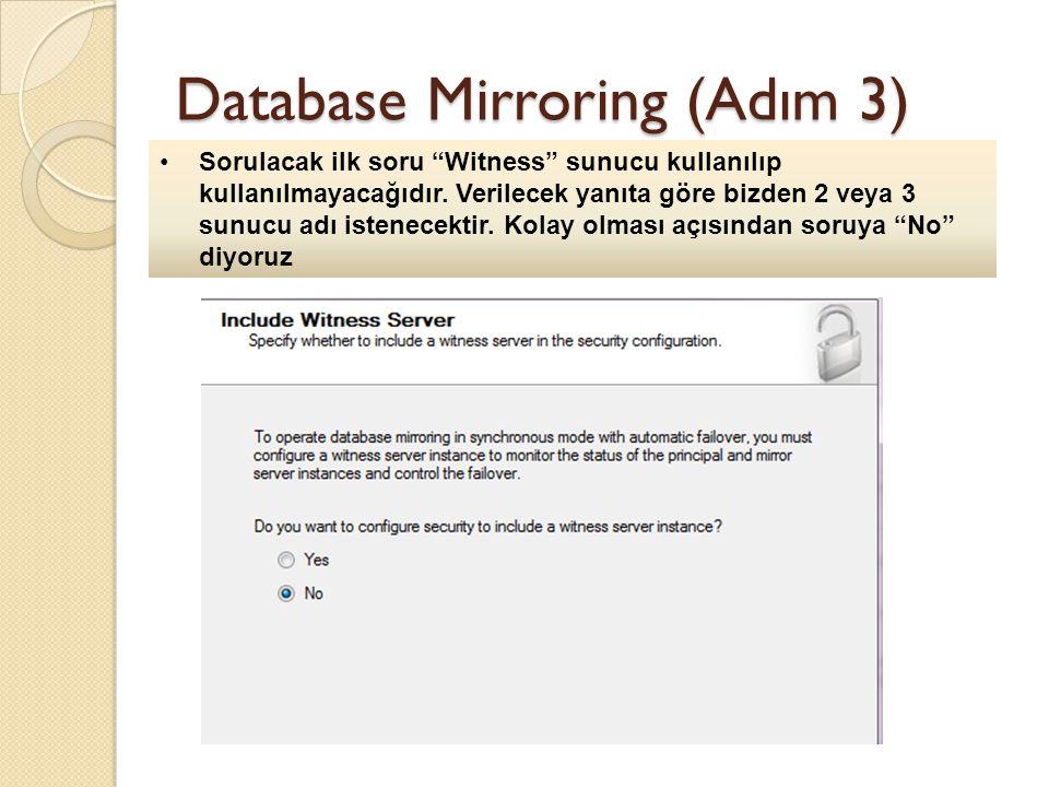 Database Mirroring (Adım 3) Sorulacak ilk soru Witness sunucu kullanılıp kullanılmayacağıdır.