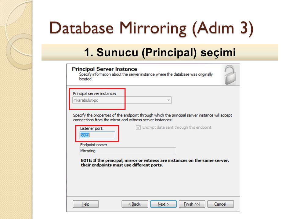 Database Mirroring (Adım 3) 1. Sunucu (Principal) seçimi