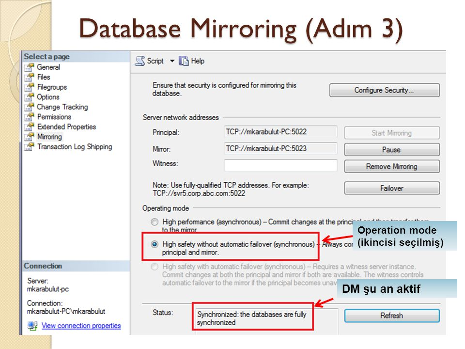 Database Mirroring (Adım 3) Operation mode (ikincisi seçilmiş) DM şu an aktif