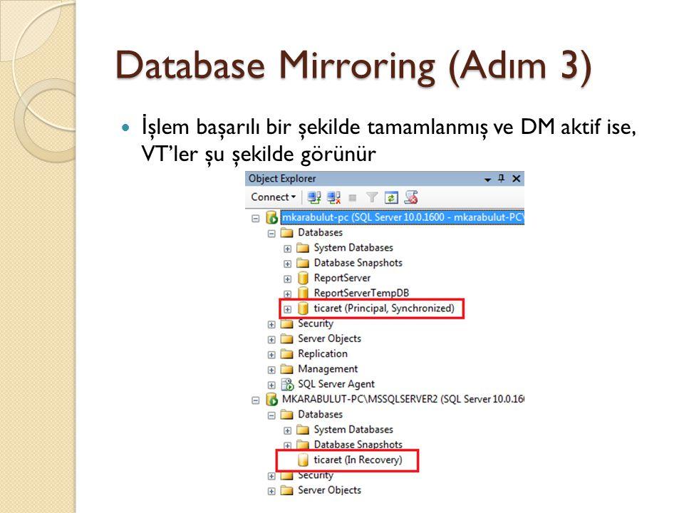 Database Mirroring (Adım 3) İ şlem başarılı bir şekilde tamamlanmış ve DM aktif ise, VT'ler şu şekilde görünür