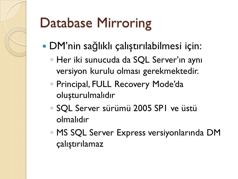 Database Mirroring DM'nin sa ğ lıklı çalıştırılabilmesi için: ◦ Her iki sunucuda da SQL Server'ın aynı versiyon kurulu olması gerekmektedir.