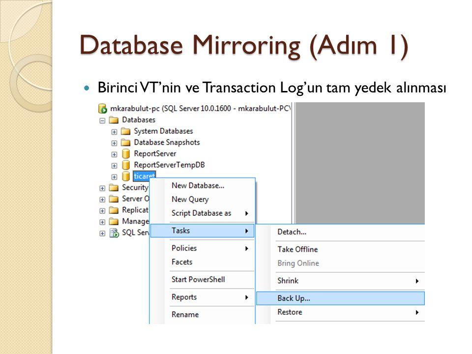 Database Mirroring (Adım 1) Recovery mode ve Backup type FULL olmak zorunda Yedek dosyasının kayıt yeri
