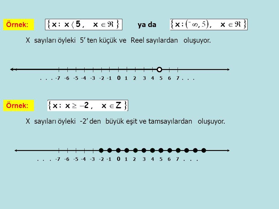 X sayıları öyleki 5' ten küçük ve Reel sayılardan oluşuyor. Örnek:... -7 -6 -5 -4 -3 -2 -1 0 1 2 3 4 5 6 7... X sayıları öyleki -2' den büyük eşit ve