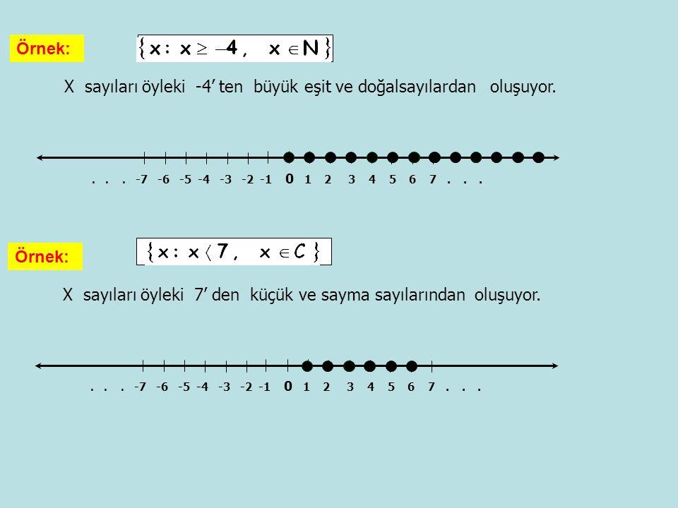 X sayıları öyleki -4' ten büyük eşit ve doğalsayılardan oluşuyor. Örnek:... -7 -6 -5 -4 -3 -2 -1 0 1 2 3 4 5 6 7... X sayıları öyleki 7' den küçük ve