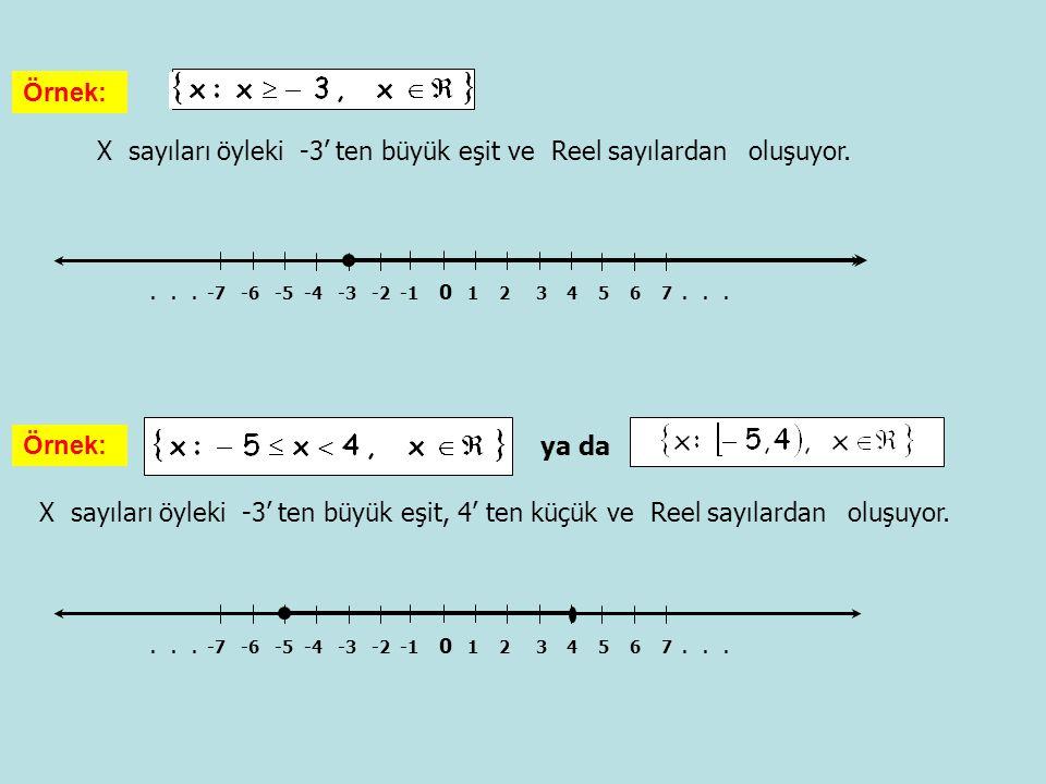 X sayıları öyleki -3' ten büyük eşit ve Reel sayılardan oluşuyor. Örnek:... -7 -6 -5 -4 -3 -2 -1 0 1 2 3 4 5 6 7... X sayıları öyleki -3' ten büyük eş