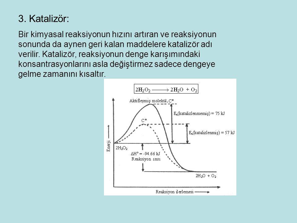 3. Katalizör: Bir kimyasal reaksiyonun hızını artıran ve reaksiyonun sonunda da aynen geri kalan maddelere katalizör adı verilir. Katalizör, reaksiyon