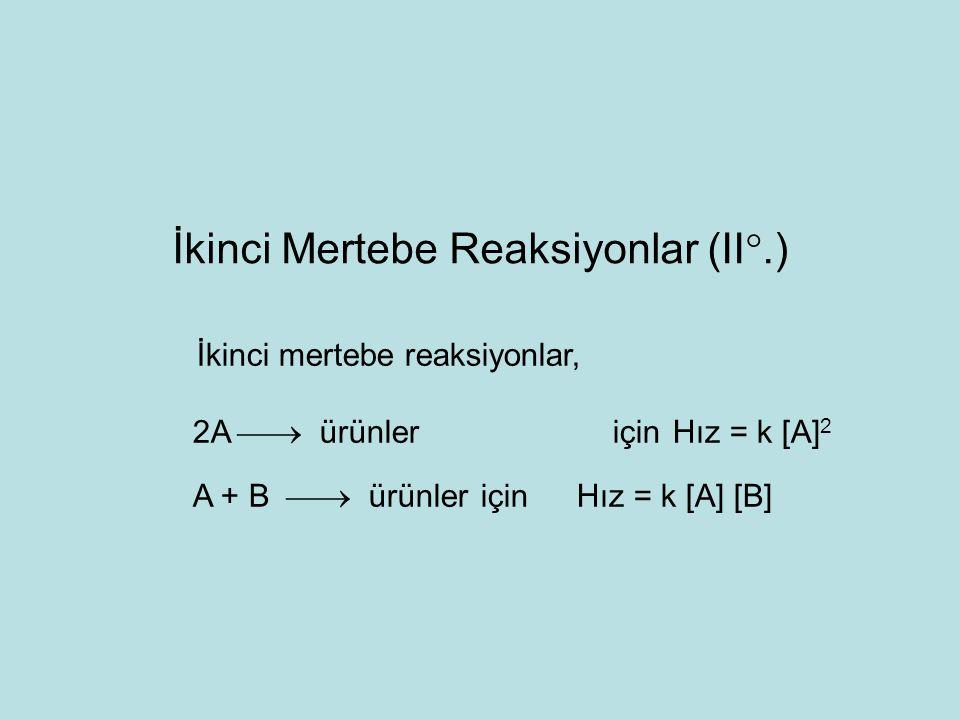 A+B  ürünler reaksiyonunda şayet başlangıç maddelerinden birinin değişimi diğerine göre çok büyük ise (A  B hali) reaksiyon sanki birinci mertebedenmiş gibi yürür ve böyle reaksiyonların hızları birinci mertebe reaksiyon hız bağıntıları ile hesaplanır.