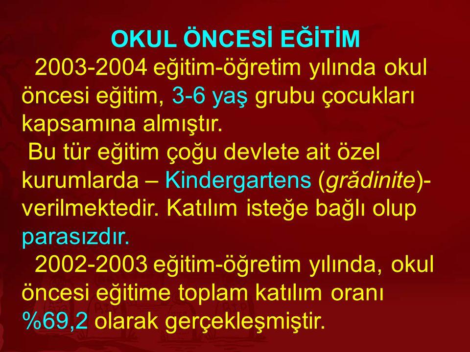 OKUL ÖNCESİ EĞİTİM 2003-2004 eğitim-öğretim yılında okul öncesi eğitim, 3-6 yaş grubu çocukları kapsamına almıştır. Bu tür eğitim çoğu devlete ait öze
