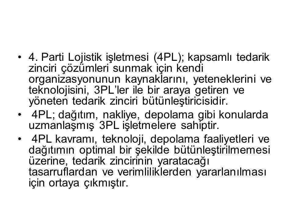 4. Parti Lojistik işletmesi (4PL); kapsamlı tedarik zinciri çözümleri sunmak için kendi organizasyonunun kaynaklarını, yeteneklerini ve teknolojisini,
