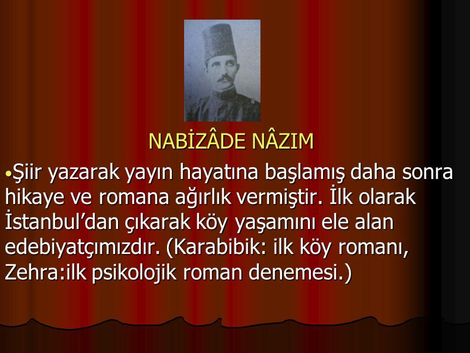 NABİZÂDE NÂZIM Şiir yazarak yayın hayatına başlamış daha sonra hikaye ve romana ağırlık vermiştir.