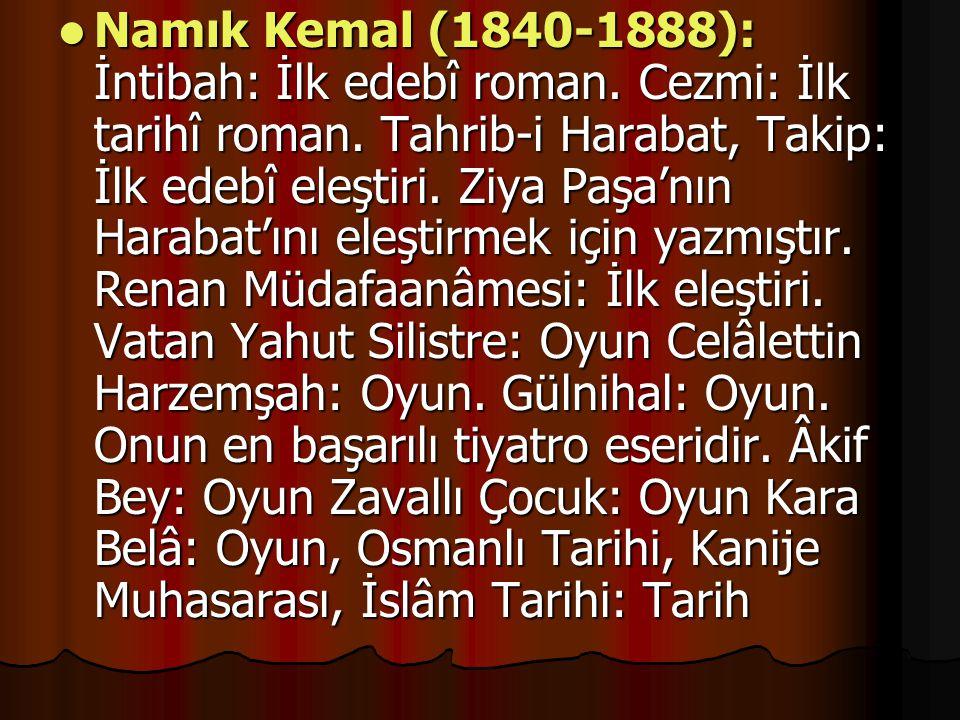 Namık Kemal (1840-1888): İntibah: İlk edebî roman.