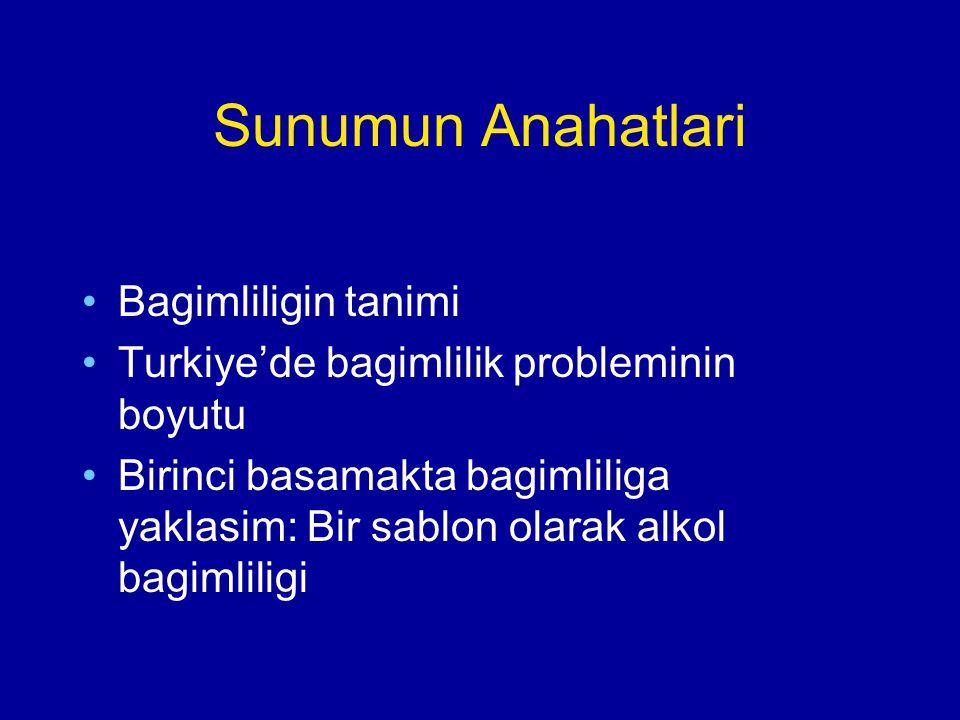 Sunumun Anahatlari Bagimliligin tanimi Turkiye'de bagimlilik probleminin boyutu Birinci basamakta bagimliliga yaklasim: Bir sablon olarak alkol bagiml