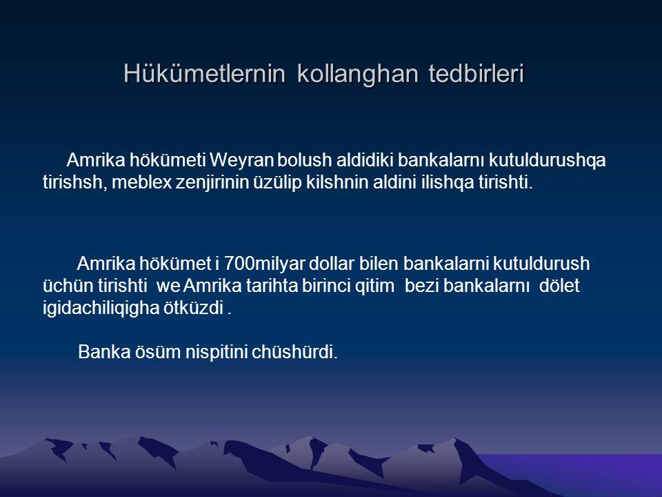 Hükümetlernin kollanghan tedbirleri Amrika hökümeti Weyran bolush aldidiki bankalarnı kutuldurushqa tirishsh, meblex zenjirinin üzülip kilshnin aldini ilishqa tirishti.
