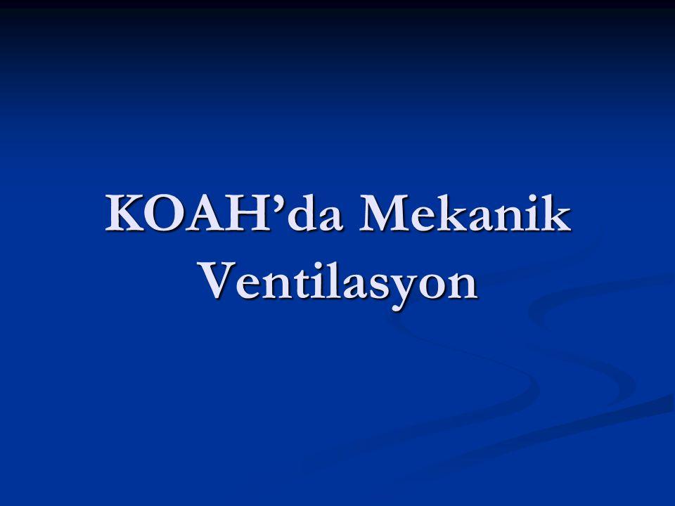 RANDOMİZE KONTROLLÜ ÇALIŞMALAR Konu: Konu: KOAH akut atağına bağlı dekompanse hiperkapnik solunum yetmezliği olan hastalar KOAH akut atağına bağlı dekompanse hiperkapnik solunum yetmezliği olan hastalar Çalışma Grubu: Çalışma Grubu: Standart medikal tedavi (SMT) + Non invaziv mekanik ventilasyon (NİMV) Standart medikal tedavi (SMT) + Non invaziv mekanik ventilasyon (NİMV) Kontrol Grubu: Kontrol Grubu: SMT SMT