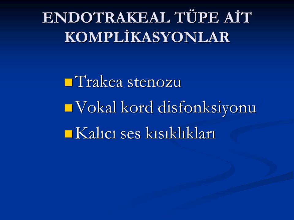 ENDOTRAKEAL TÜPE AİT KOMPLİKASYONLAR Trakea stenozu Trakea stenozu Vokal kord disfonksiyonu Vokal kord disfonksiyonu Kalıcı ses kısıklıkları Kalıcı ses kısıklıkları