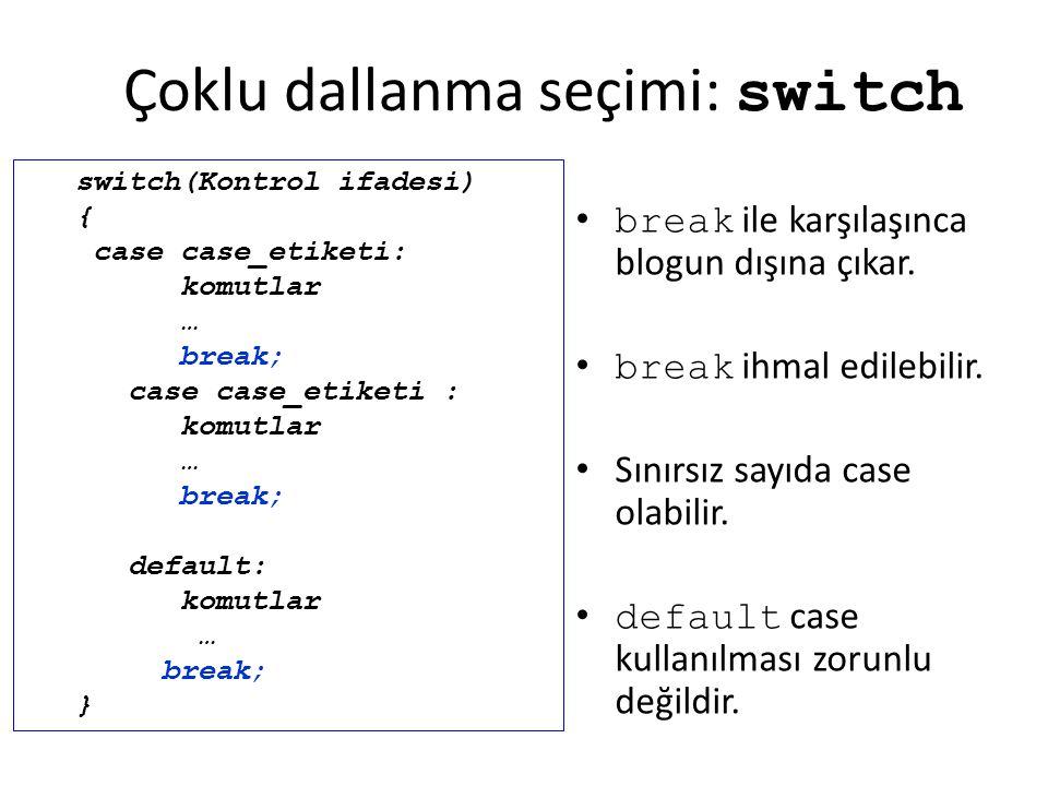 Çoklu dallanma seçimi: switch break ile karşılaşınca blogun dışına çıkar. break ihmal edilebilir. Sınırsız sayıda case olabilir. default case kullanıl