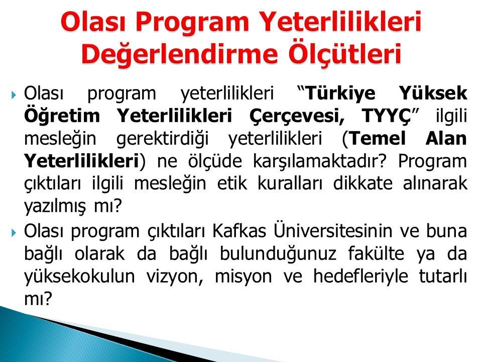  Olası program yeterlilikleri Türkiye Yüksek Öğretim Yeterlilikleri Çerçevesi, TYYÇ ilgili mesleğin gerektirdiği yeterlilikleri (Temel Alan Yeterlilikleri) ne ölçüde karşılamaktadır.