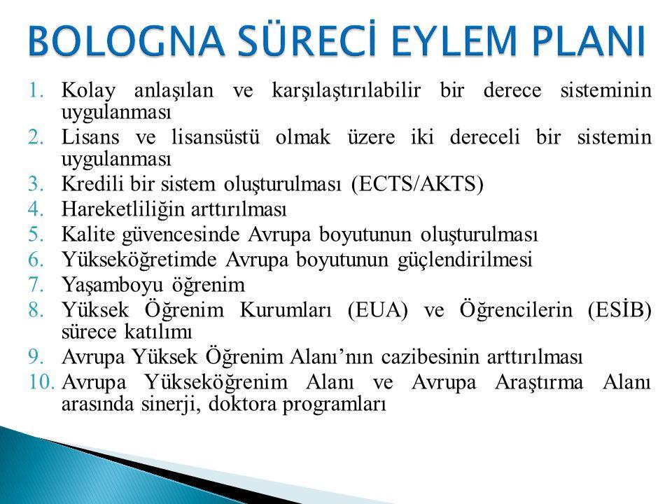 1.Kolay anlaşılan ve karşılaştırılabilir bir derece sisteminin uygulanması 2.Lisans ve lisansüstü olmak üzere iki dereceli bir sistemin uygulanması 3.Kredili bir sistem oluşturulması (ECTS/AKTS) 4.Hareketliliğin arttırılması 5.Kalite güvencesinde Avrupa boyutunun oluşturulması 6.Yükseköğretimde Avrupa boyutunun güçlendirilmesi 7.Yaşamboyu öğrenim 8.Yüksek Öğrenim Kurumları (EUA) ve Öğrencilerin (ESİB) sürece katılımı 9.Avrupa Yüksek Öğrenim Alanı'nın cazibesinin arttırılması 10.Avrupa Yükseköğrenim Alanı ve Avrupa Araştırma Alanı arasında sinerji, doktora programları