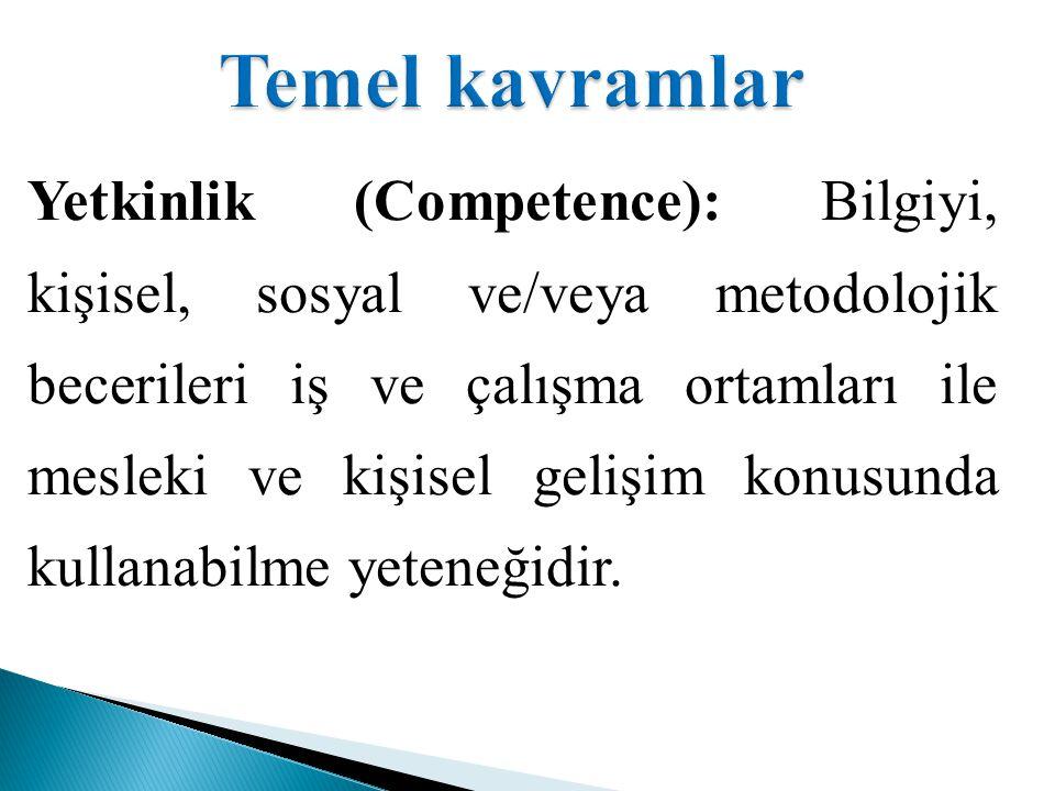 Yetkinlik (Competence): Bilgiyi, kişisel, sosyal ve/veya metodolojik becerileri iş ve çalışma ortamları ile mesleki ve kişisel gelişim konusunda kullanabilme yeteneğidir.