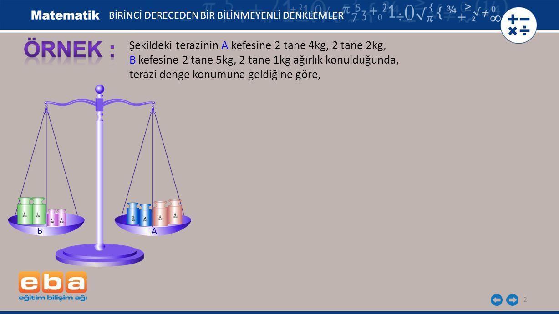 3 Şekildeki terazinin A kefesine 2 tane 4kg, 2 tane 2kg, B kefesine 2 tane 5kg, 2 tane 1kg ağırlık konulduğunda, terazi denge konumuna geldiğine göre, Eğer terazinin A kefesinden 1 tane 2kg, B kefesinden 2 tane 1kg ağırlık alınırsa terazinin dengesi değişir mi.