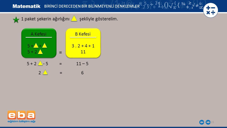 BİRİNCİ DERECEDEN BİR BİLİNMEYENLİ DENKLEMLER 2 = 6 21 1 paket şekerin ağırlığını şekliyle gösterelim. 5 + 2 - 5 = 11 – 5 A Kefesi 5 + + 5 + 2 B Kefes