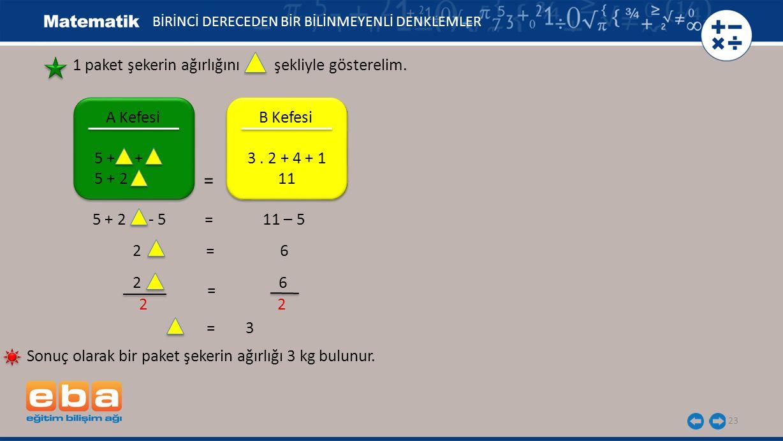 BİRİNCİ DERECEDEN BİR BİLİNMEYENLİ DENKLEMLER 2 6 2 2 = 23 2 = 6 1 paket şekerin ağırlığını şekliyle gösterelim. 5 + 2 - 5 = 11 – 5 A Kefesi 5 + + 5 +