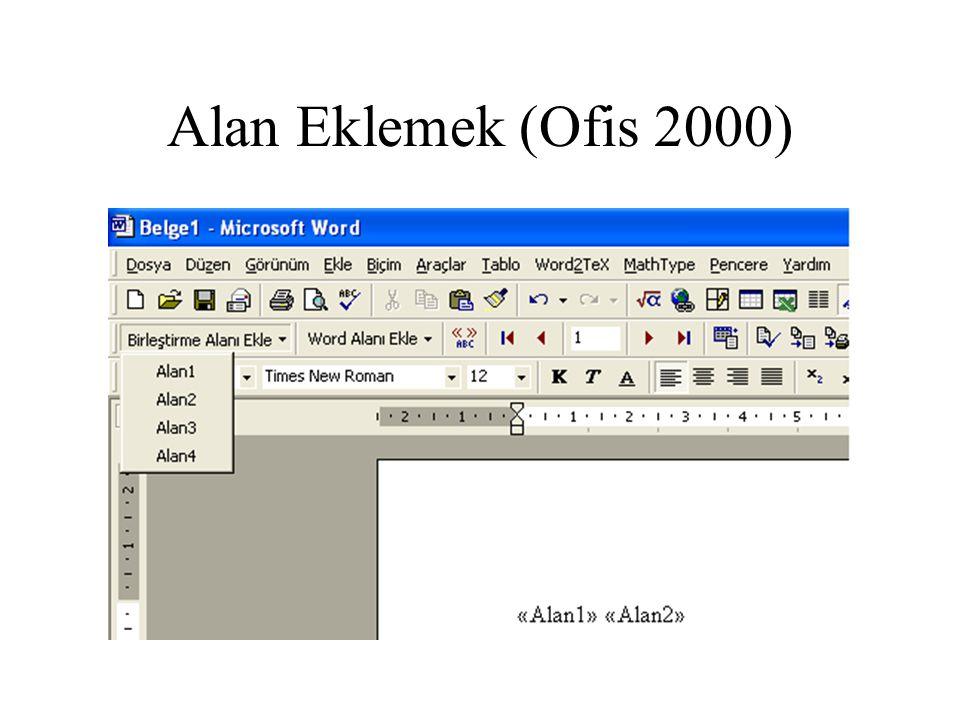 Alan Eklemek (Ofis 2000)