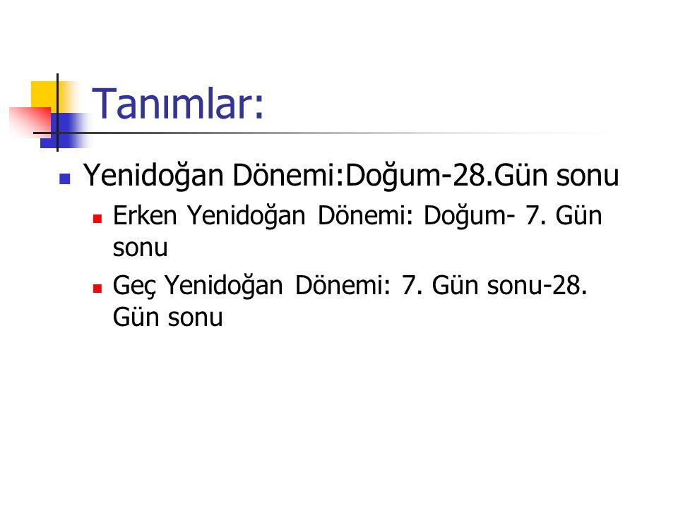Tanımlar: Yenidoğan Dönemi:Doğum-28.Gün sonu Erken Yenidoğan Dönemi: Doğum- 7. Gün sonu Geç Yenidoğan Dönemi: 7. Gün sonu-28. Gün sonu