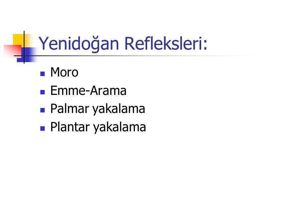 Yenidoğan Refleksleri: Moro Emme-Arama Palmar yakalama Plantar yakalama