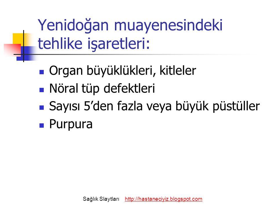Yenidoğan muayenesindeki tehlike işaretleri: Organ büyüklükleri, kitleler Nöral tüp defektleri Sayısı 5'den fazla veya büyük püstüller Purpura Sağlık