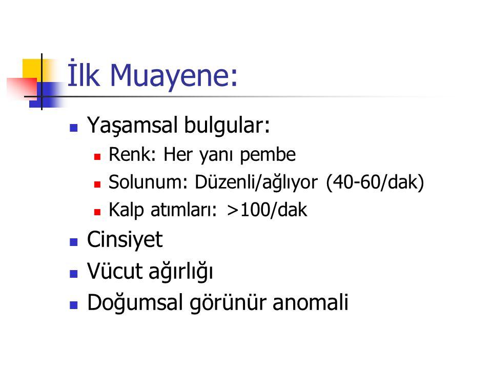Yenidoğan muayenesindeki tehlike işaretleri: Organ büyüklükleri, kitleler Nöral tüp defektleri Sayısı 5'den fazla veya büyük püstüller Purpura Sağlık Slaytlarıhttp://hastaneciyiz.blogspot.com