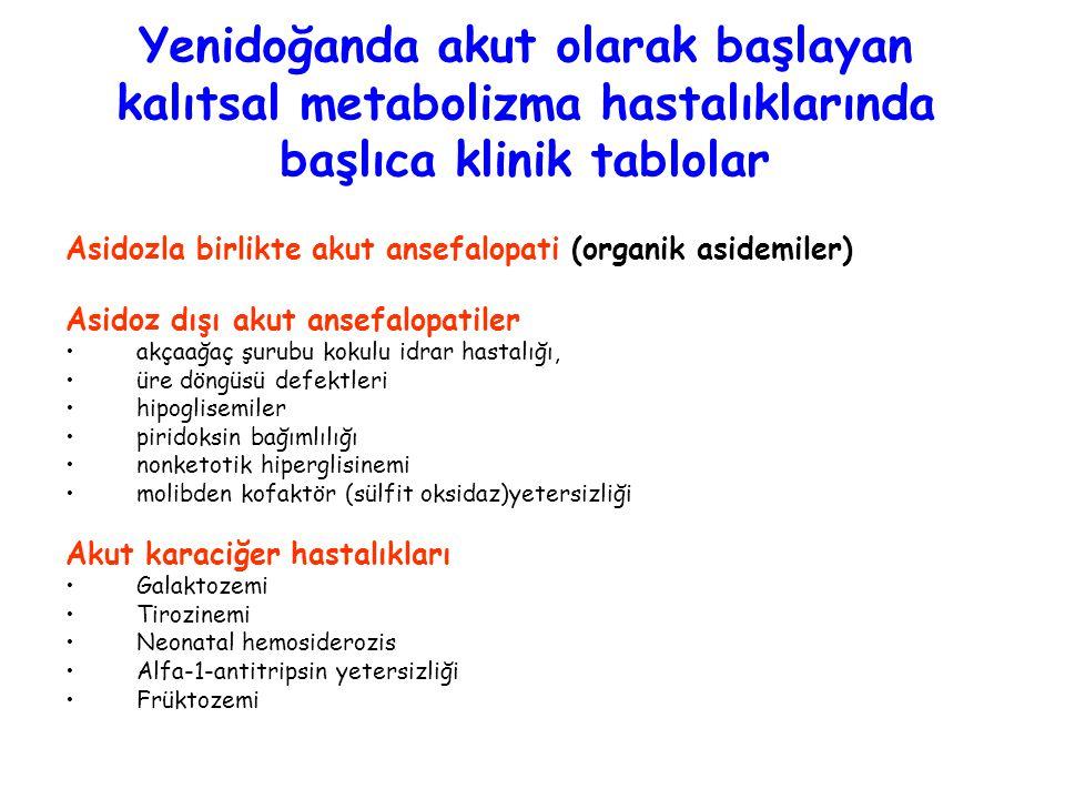 Yenidoğanda akut olarak başlayan kalıtsal metabolizma hastalıklarında başlıca klinik tablolar Asidozla birlikte akut ansefalopati (organik asidemiler)