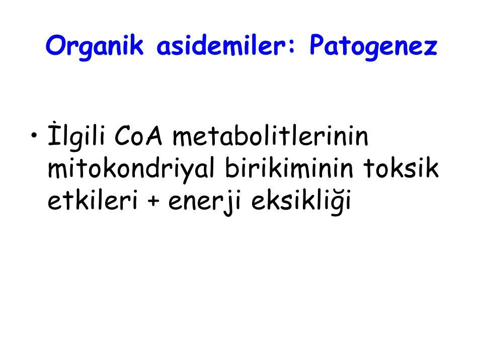 Organik asidemiler: Patogenez İlgili CoA metabolitlerinin mitokondriyal birikiminin toksik etkileri + enerji eksikliği