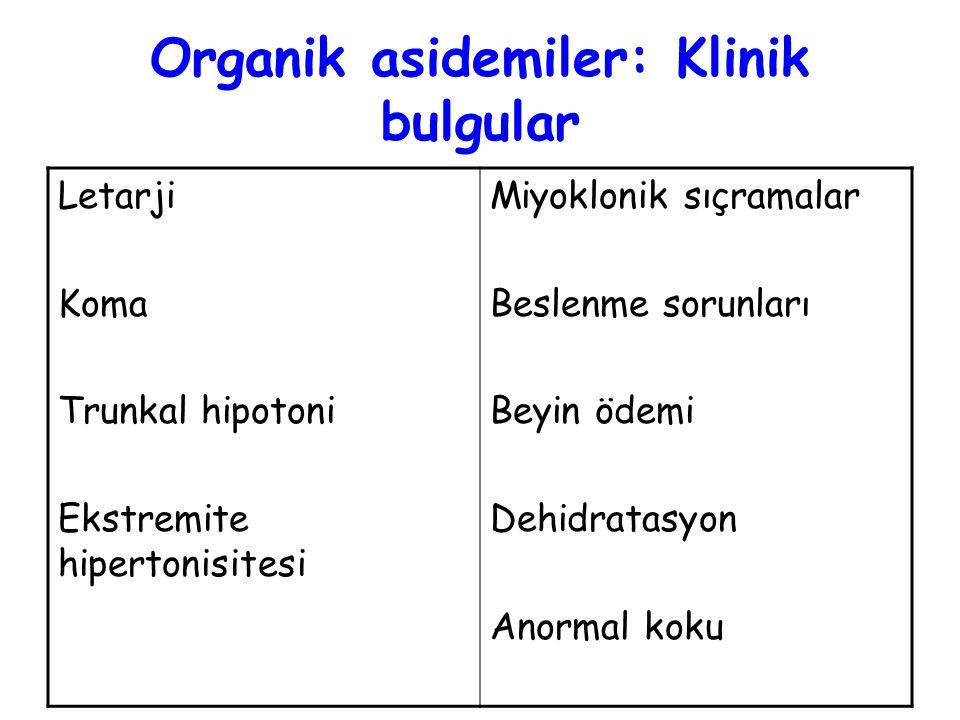 Letarji Koma Trunkal hipotoni Ekstremite hipertonisitesi Miyoklonik sıçramalar Beslenme sorunları Beyin ödemi Dehidratasyon Anormal koku Organik aside