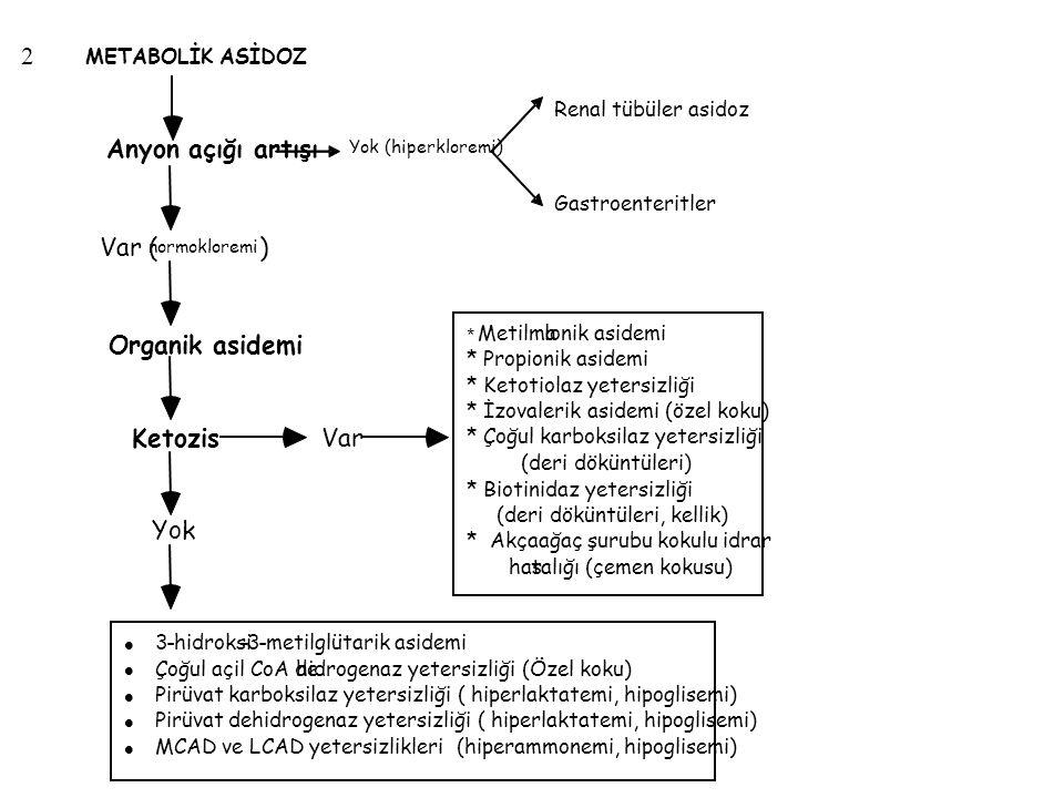 2 Yok (hiperkloremi) METABOLİK ASİDOZ Renal tübüler asidoz Var ( normokloremi ) Organik asidemi Ketozis Anyon açığı artışı Yok Var Gastroenteritler *